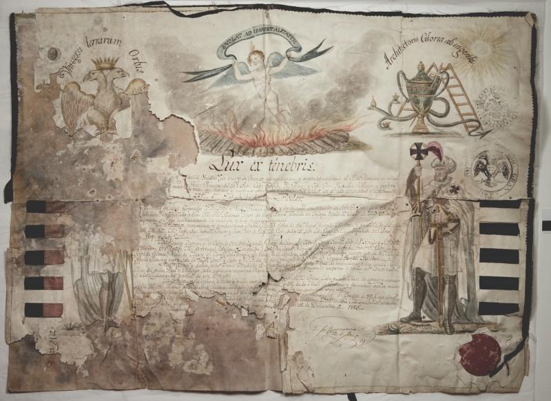 Santa Anna's 1825 Scottish Rite Certificate
