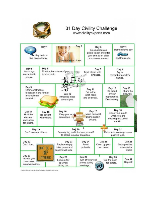 Monthly Civility Challenge